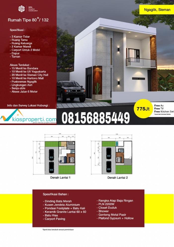 Rumah 2 Lantai 775 Juta Area Jl.Kaliurang Km 9 Jogja