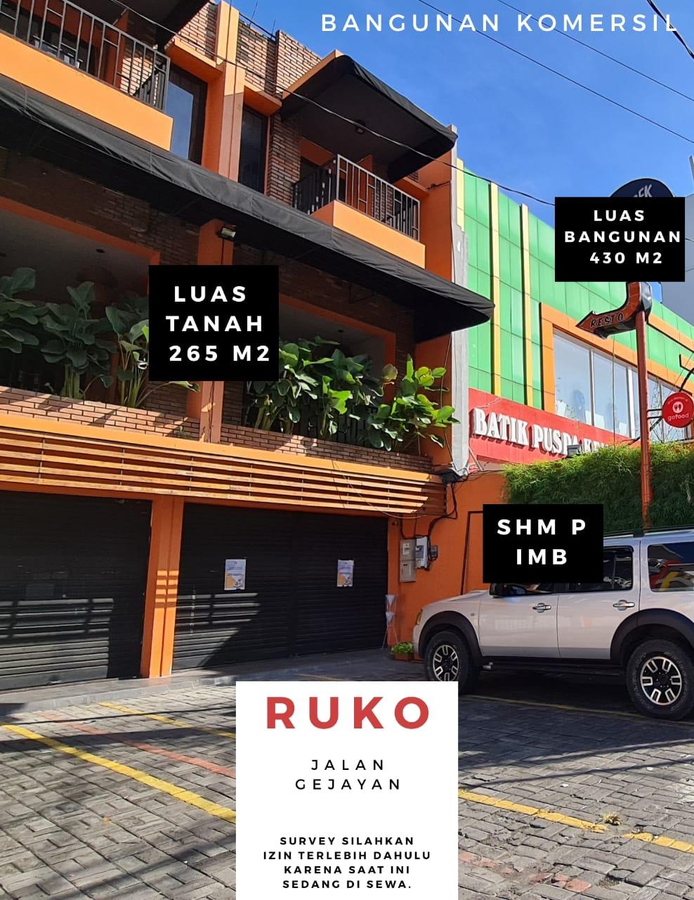 Ruko Jalan Raya Gejayan Jogja Dekat Kampus UNY UGM
